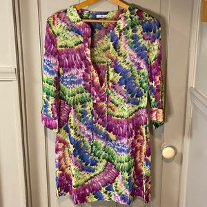 NWOT Kristine Colorful Printed Sheer Swim Coverup